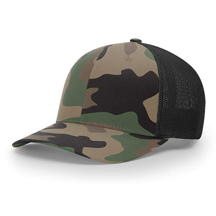 China Leverancier custom trucker snapback hoed mesh back caps richardson camo baseball cap