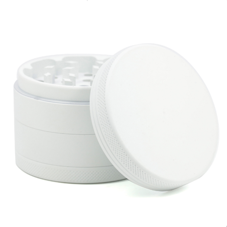 Matte white 2.5 inches 4 pieces aluminum herb grinder