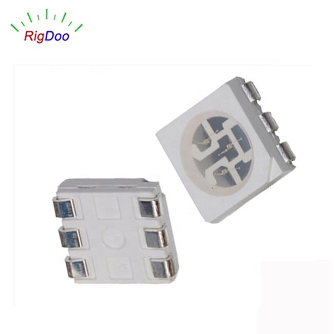 Super Bright 6 Pins SMD 5050 LED Yellow Light Emitting Diode Light Source LED Beads 5054 PLCC6 Surface Mounted RoHS Free Samples