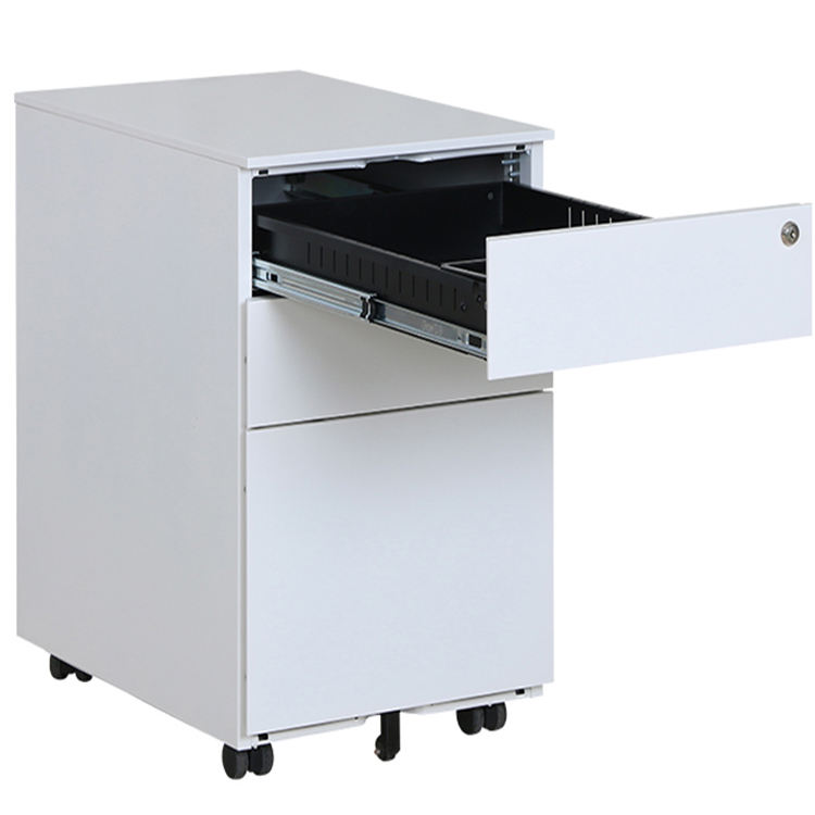 Good quality office furniture storage equipment workstation mobile steel 3 drawer movable filling cabinet with 4 casters