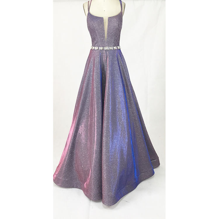 Wholesale Floor Length Beading Purple Real Glitter Evening Dress sexy