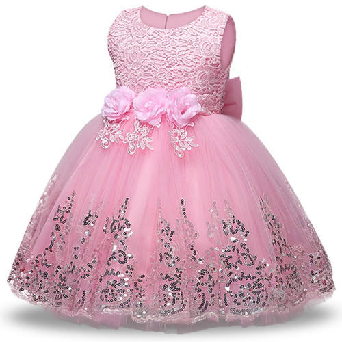 European style Sequin princess dress for 6 years old kids wear birthday party dress pink girl prom dress for wedding