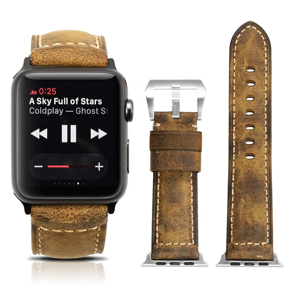 Wholesale Women Men Link Smart Genuine Leather for Apple Watch Strap series 5/4/3/2/1 44mm 40mm and 38mm 42mm Watch Band