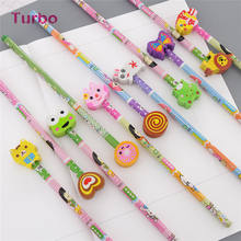 Big discount school stationery Wholesale High Quality kids cute black lead wooden HB pencils set bulk customised
