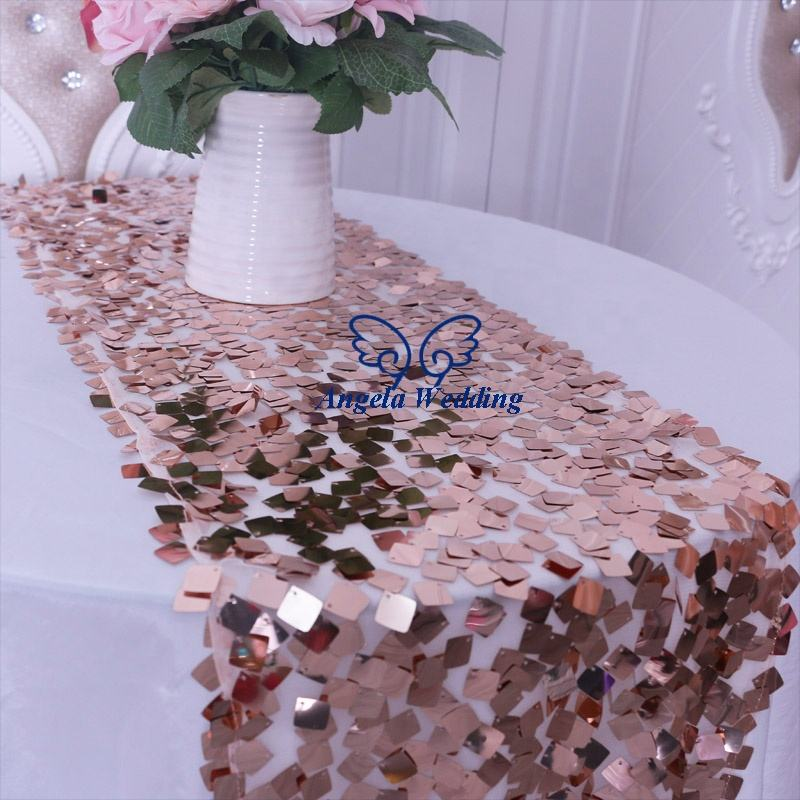 RU009SA Gorgeous ship quickly in stock new 2019 glitter wedding large square rose gold sequin table runner