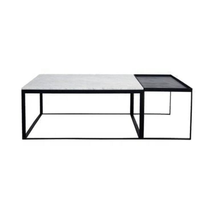 New style black white marble coffee table top center in living room with stainless steel base