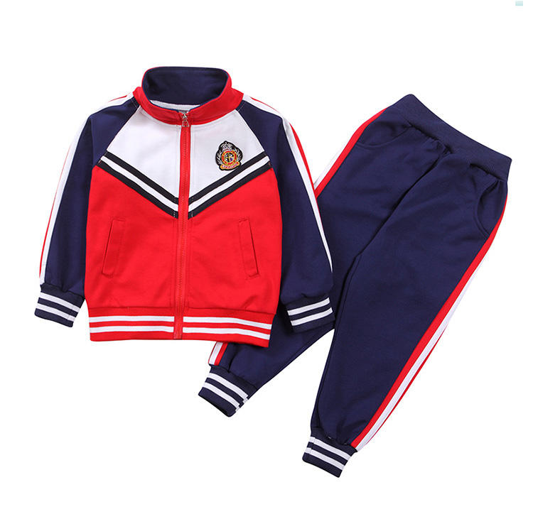 factory price custom made Good quality fall clothes cotton children sportswear kids tracksuit sweat jacket and jogger sets