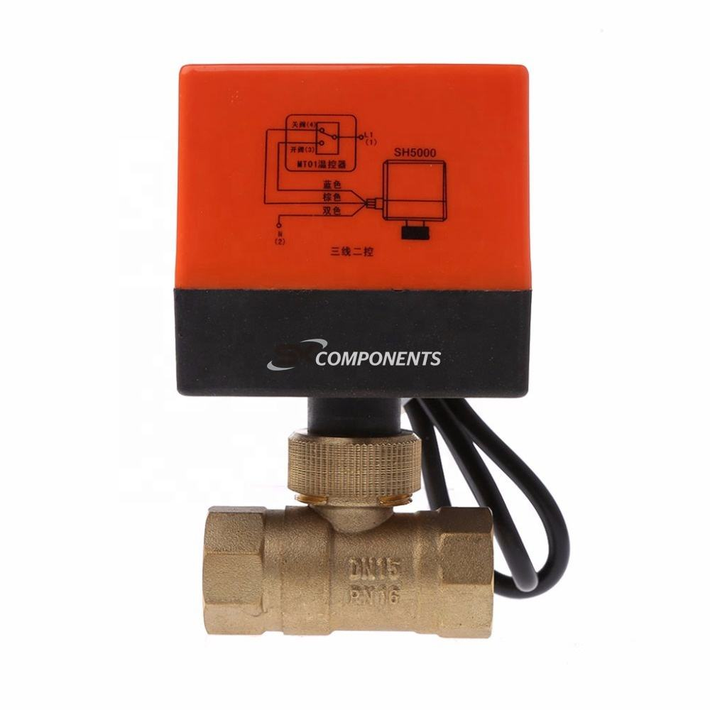 DN15 DN20 DN25 Electric Motorized Brass Ball Valve DN20 AC 220V 2 Way 3 Wire with Actuator