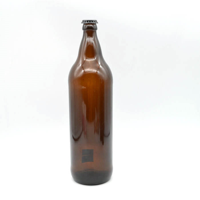 smooth sides 1000 ml amber glass beer bottle 26 mm metal crown cap