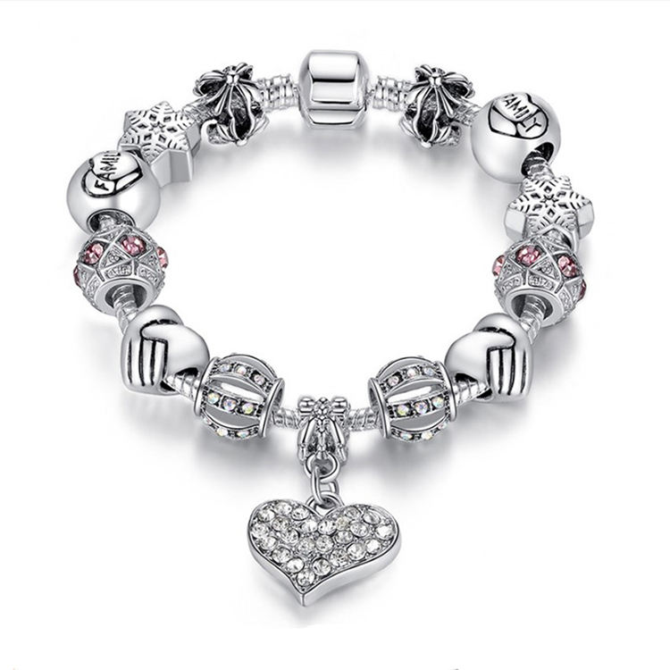 Custom Bracelet Charm Bracelet for Women DIY Beads Bracelets & Bangles Unique Silver Crystal Jewelry Gift Luxury Brand Women