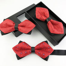 Hot Sale Cheap Red Color Woven Polyester Sharp Bow Ties For Men Party Wedding Bowtie