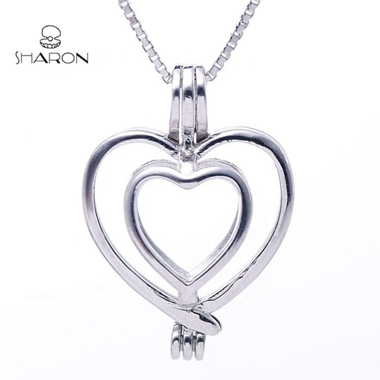 CS0066 Mother's Day Gift Valentine's Day Gift 925 Sterling Silver Double Love Heart Pearl Cage Pendant For Women