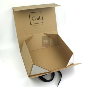 Folding Gift Custom Kraft Paper Box With Ribbon,Cosmetic Paper Box Packaging,Premium Recycled Paper Box Packing