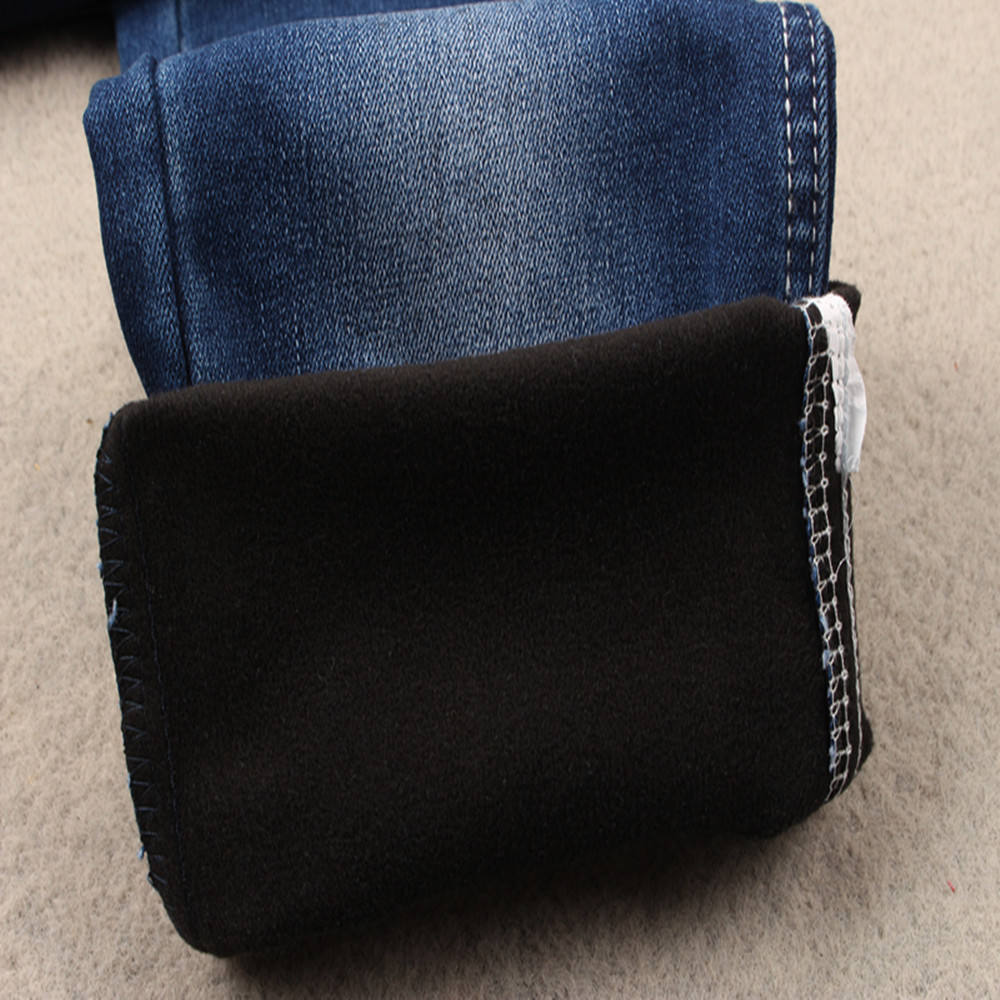 Heavy fleece denim fabric soft hand feel imitation composite polyester spandex denimjeans fabric