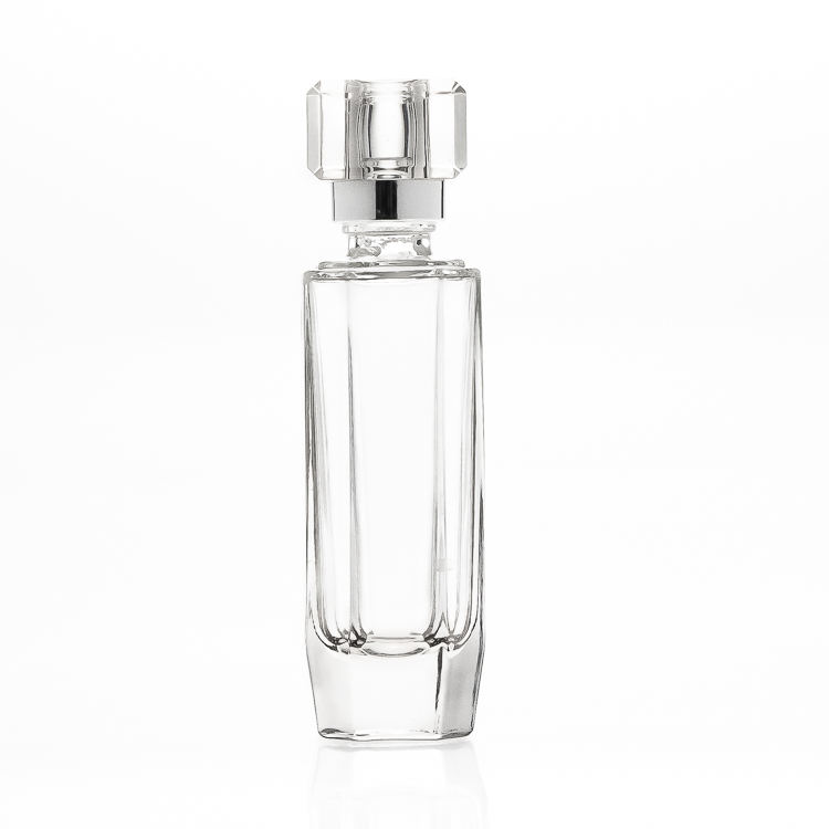Custom Luxury Design 50ml 1.7oz Empty Spray Cosmetic Bottles Square Crystal Glass Perfume oil Bottle