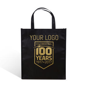 customized personality logo black gold laminated pp non woven bag fabric shopping gift packaging ecobag
