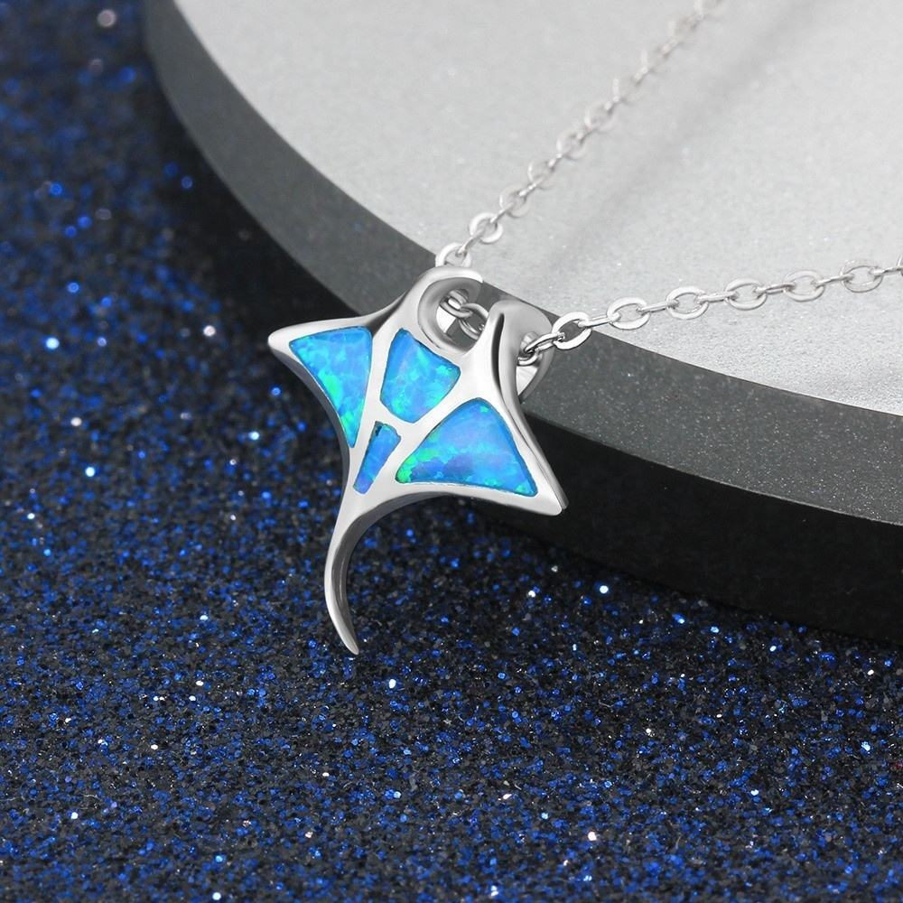 Trend Silver Ocean Jewelry Personalized Artificial Blue Opal Mermaid Whale Fish Pendant Necklace