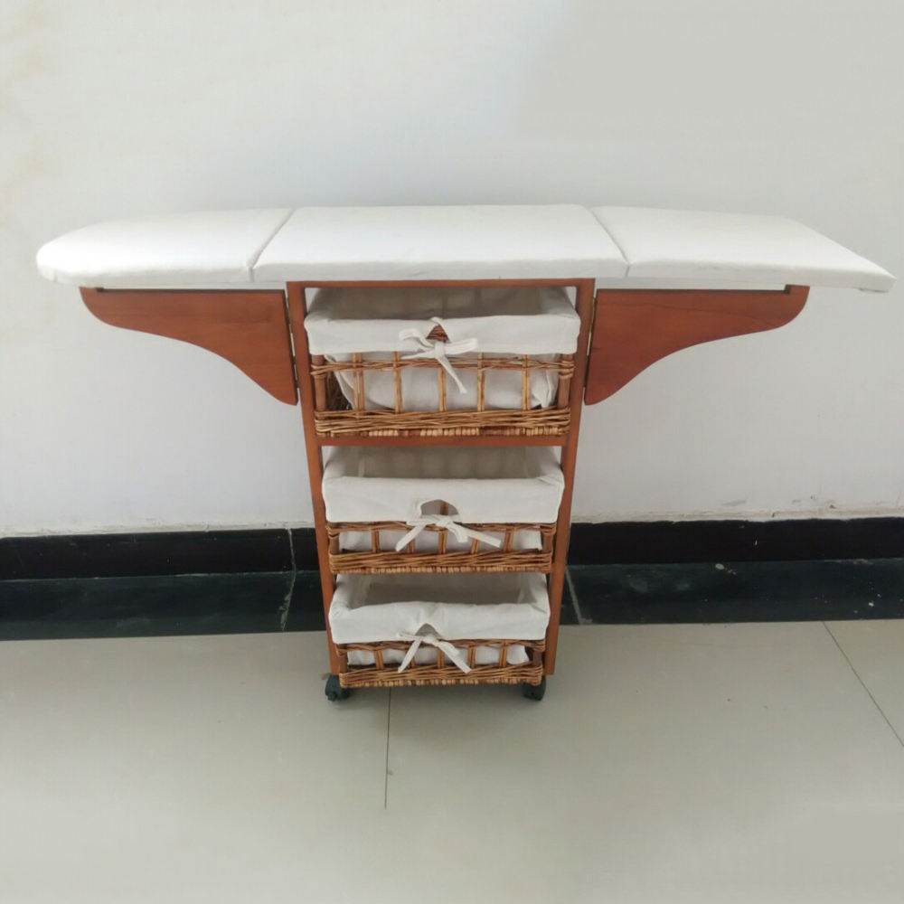 China Supplier Wooden Furniture Folding Wood Ironing Board Storage Cabinet For Living Room