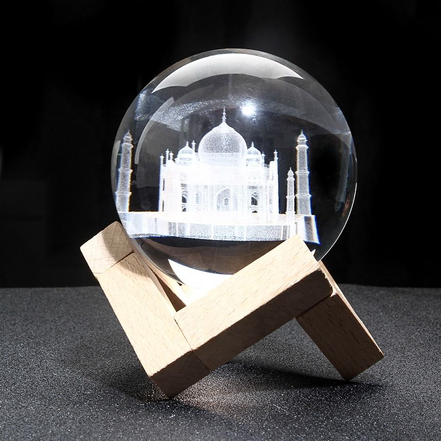 Beautiful Taj Mahal model home decoration 3d laser engraved crystal ball