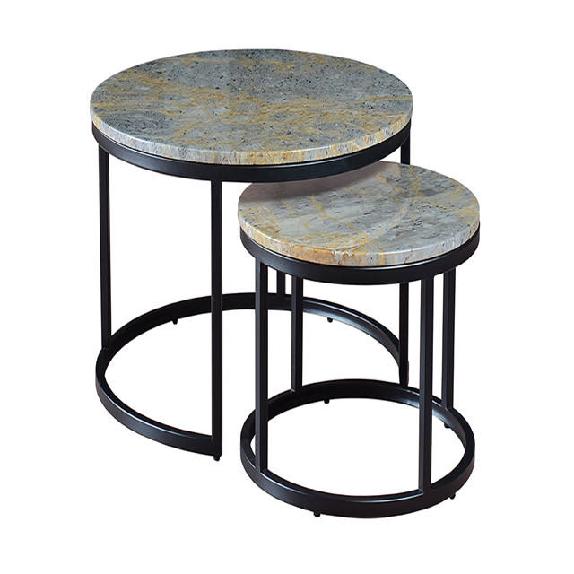 Metal marble round end table coffee table set living room