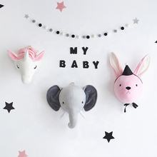Unicorn elephant rabbit animal head wall hanging kids for baby room wall decoration
