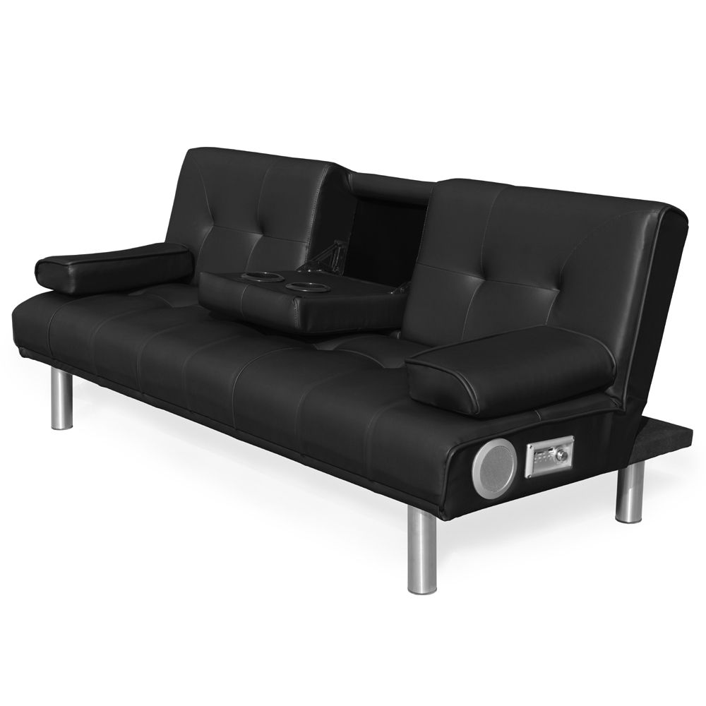 Europe style modern lazy black leather sofa cum bed with cup holder and bluetooth speaker for wholesale