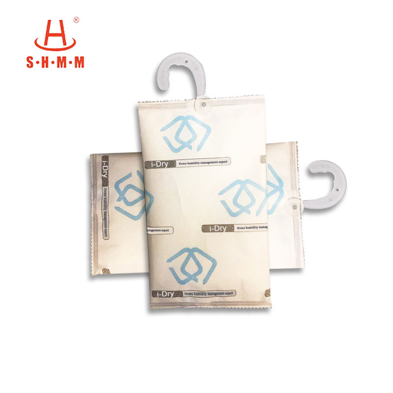 hanging bathroom dehumidifier bags with hanging hook moisture adsorption rate 300% container desiccant dry packs for household