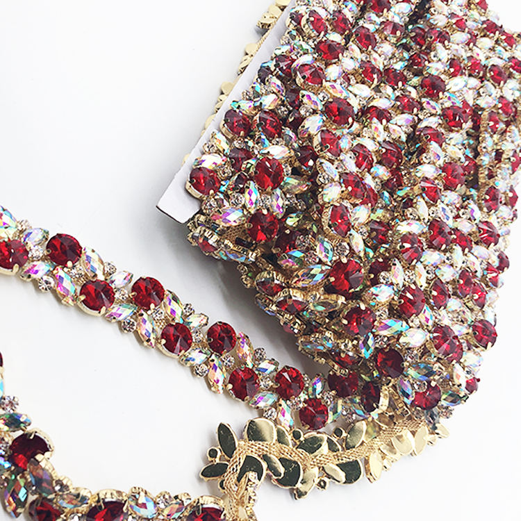 Guangzhou wholesale red rhinestone applique AB rhinestone trimming for clothing