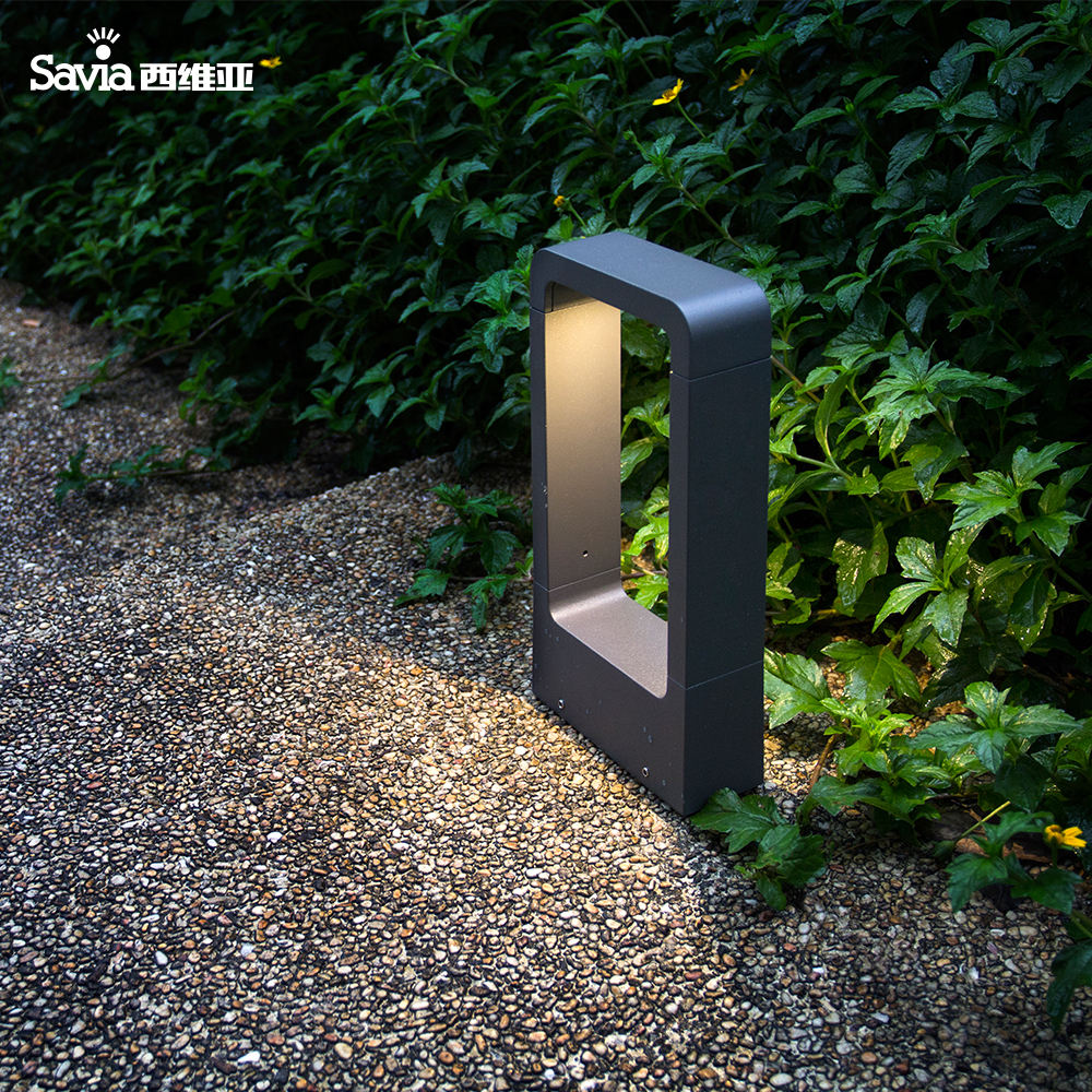 Savia hot modern aluminum garden bollard light pole LED 7W 3000K IP44 waterproof outdoor post lamp garden street pathway light