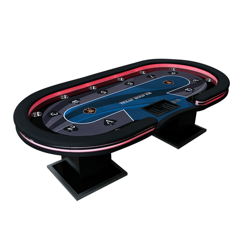 Customized Poker Table With LED Lamps, USB Interfaces, Chip Tray