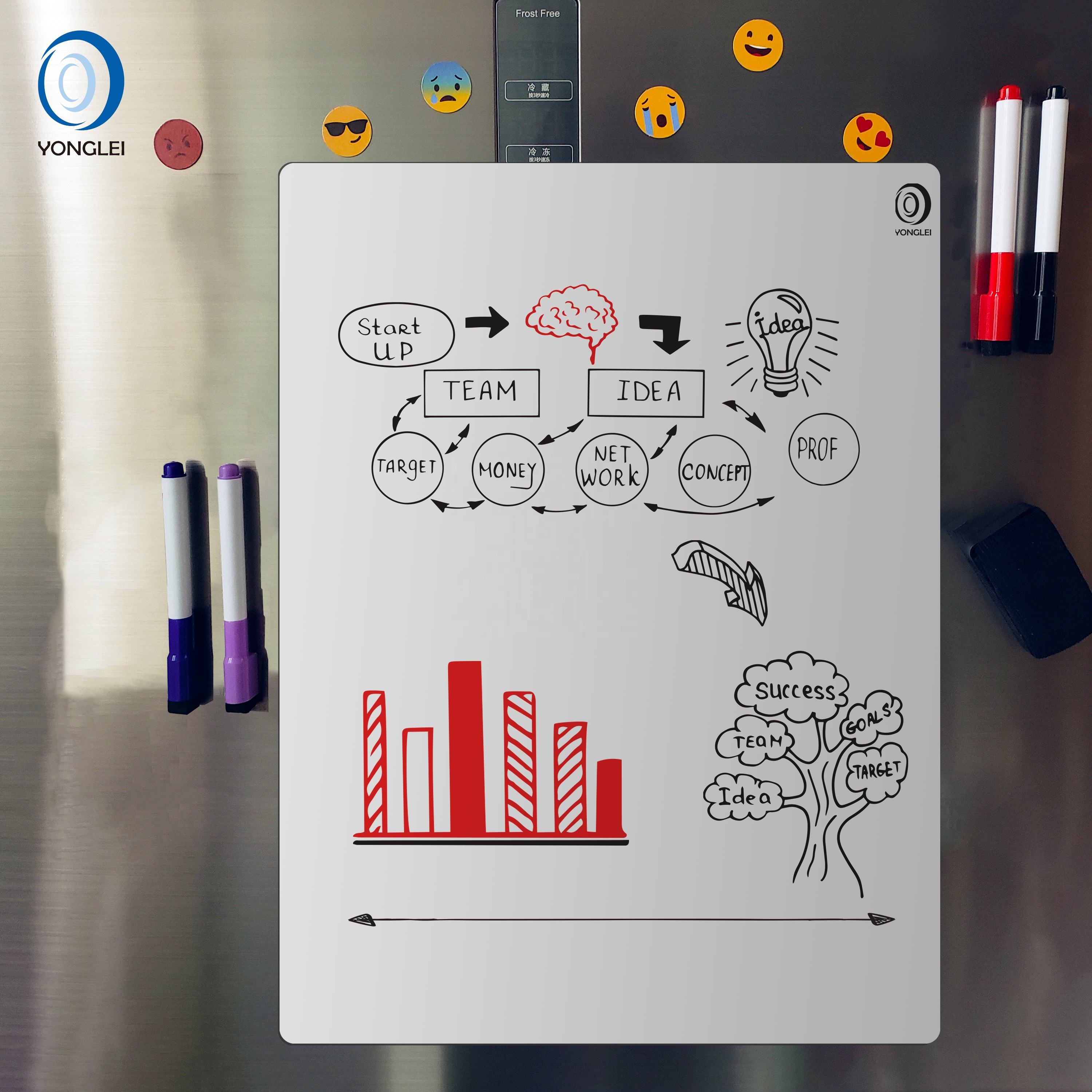 7.9-22B1 Dry erase whiteboard magnetic back white magnetic board magnetic whiteboard sticker