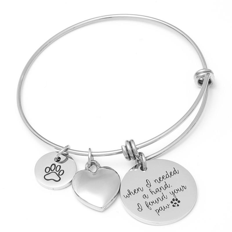 Hond of Kat Huisdier Memorial Armband Verstelbare Bangle Gift Initial Poot Memory Silver Expandable Charm Armband