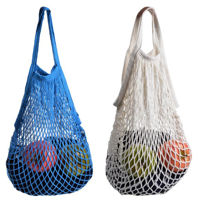 China Factory Made France Design Reusable Packing Authentic Fruit Knitted String Market Cotton Mesh Bag Shopping Net Bag