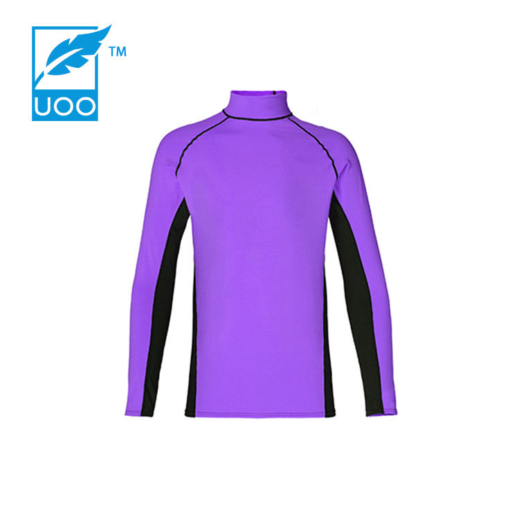 Oem Light Pink Uv Protection Lycra Fabric Rush Guard Long Sleeve