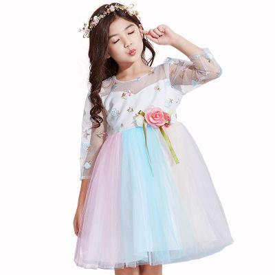 Vestidos para <span class=keywords><strong>chica</strong></span> de <span class=keywords><strong>moda</strong></span> hermosa frutas bordado de gasa de la manga larga de fiesta de princesa de encaje elegante vestidos