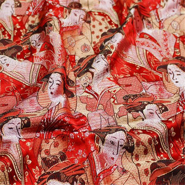 red pattern garment fabric 100 polyester jacquard brocade fabric for bag table cloth