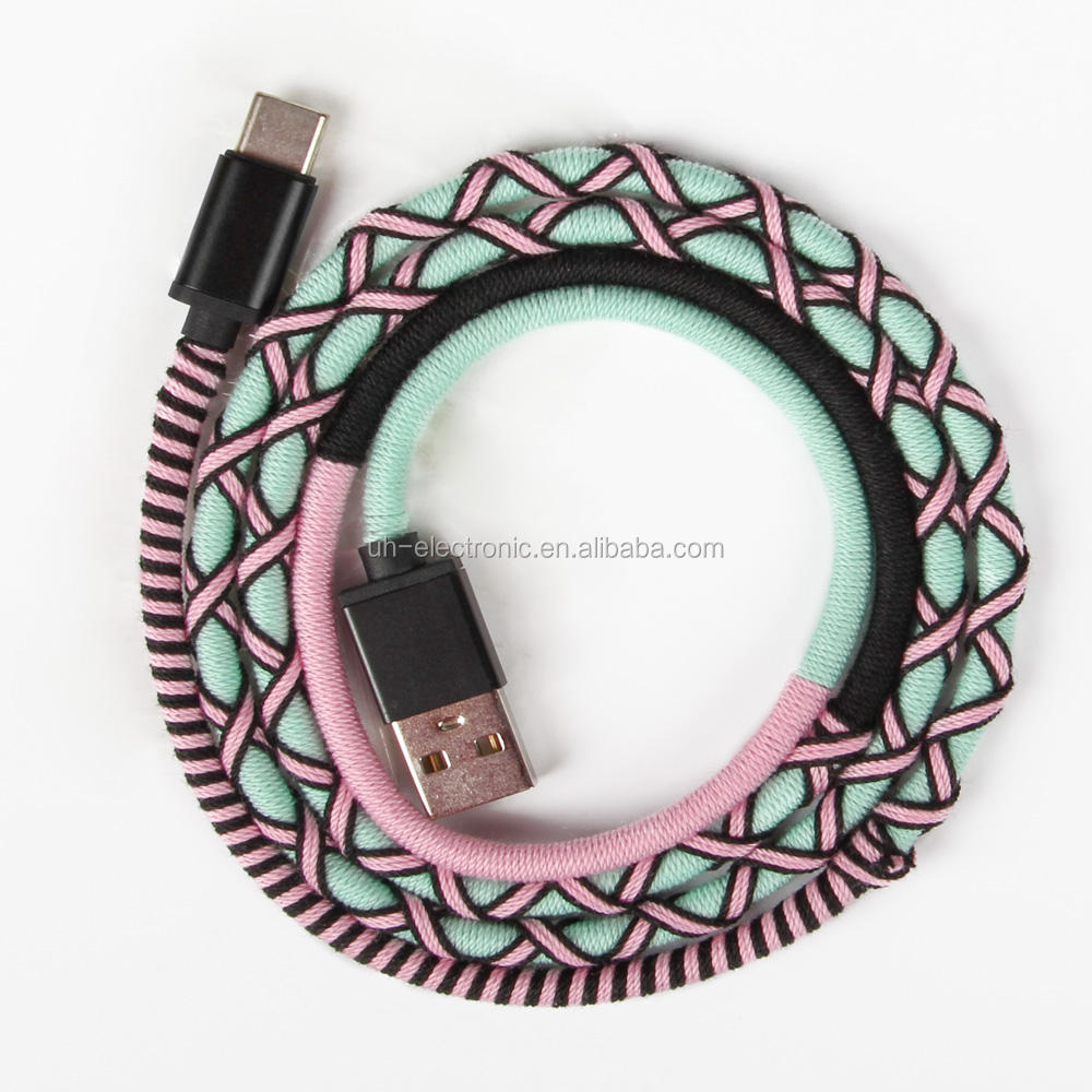 URIZONS Type C fast Charging Cables mobile micro USB Handmade Rope Braided 1M for iPhone android wholesale charge cable