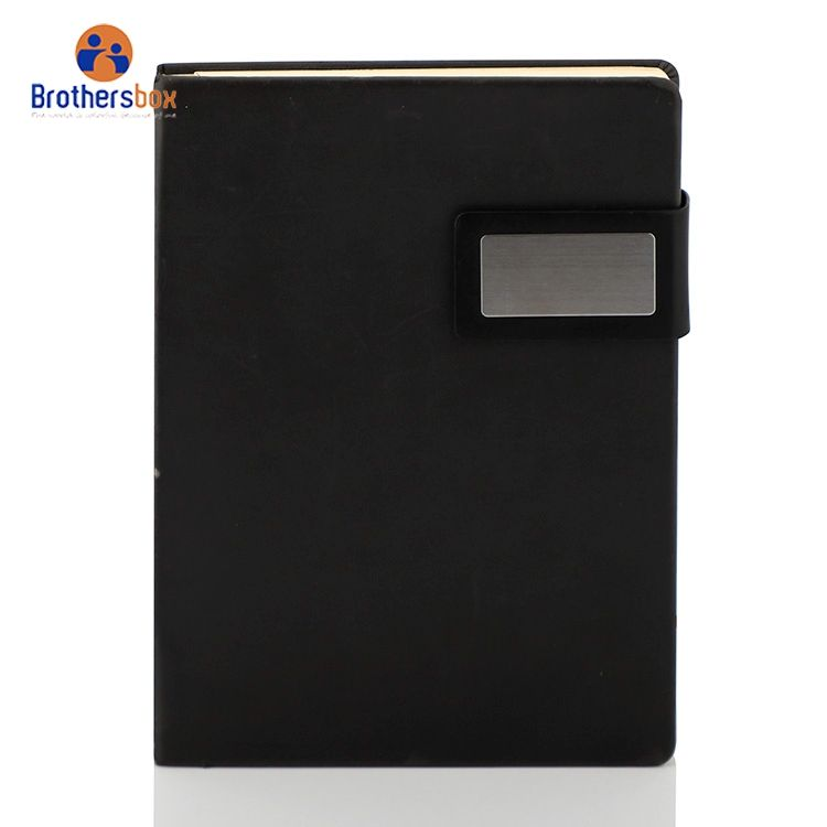 china products custom printed paper logo A5 Planner PU Leather Notebook Manufacturer notebook with power bank