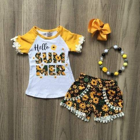 baby girls summer new arrival outfits floral sunflower top floral short outfits girls boutique clothes with accessories