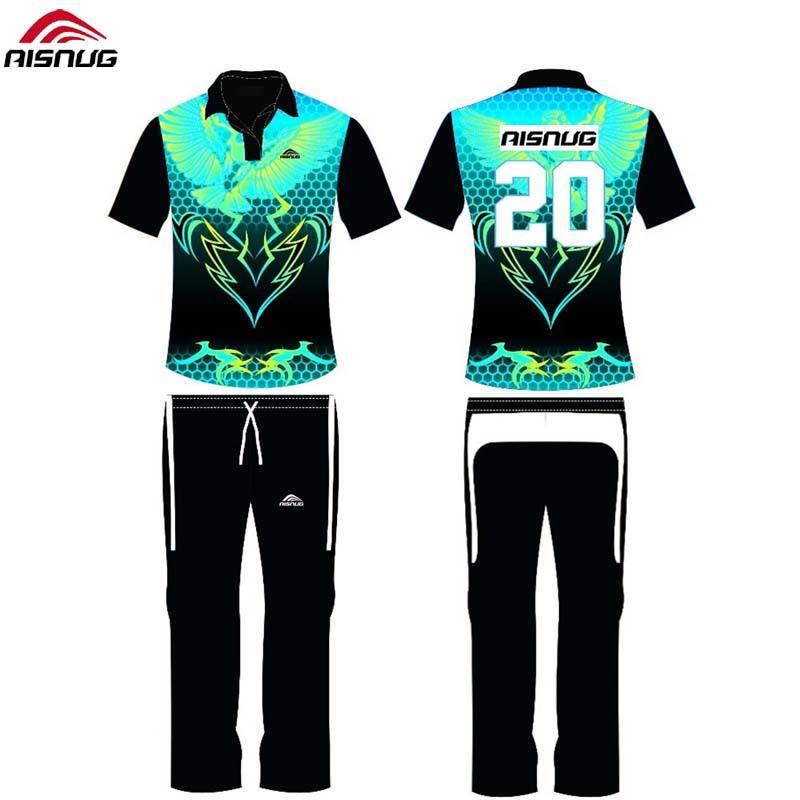 Des dessins personnalisés uniformes impression sublimée chemises de <span class=keywords><strong>cricket</strong></span> couleur et pantalon