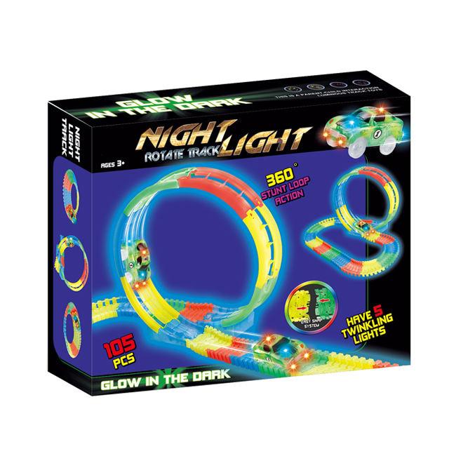DIY الملونة 105 قطع الدورية المسارات مضيئة السكك الحديدية سيارة لعبة للأطفال HC419273