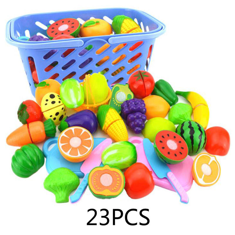 New Pretending Game Plastics Food Toy Cuts Fruit Vegetables Food Preserved Play Kitchen Food Toys Children for children's toys