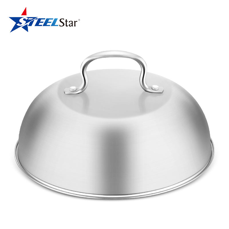 Stainless Steel Cheese Melting Dome Pot Cover Anti-hot handle Integrated Lid for frying pan cloche For Indoor Or Outdoor