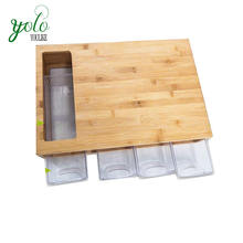 Eco Friendly Modern Food Serving,Kitchen Chopping,Natural Bamboo Cutting Board With 4 Plastic Organizer Trays