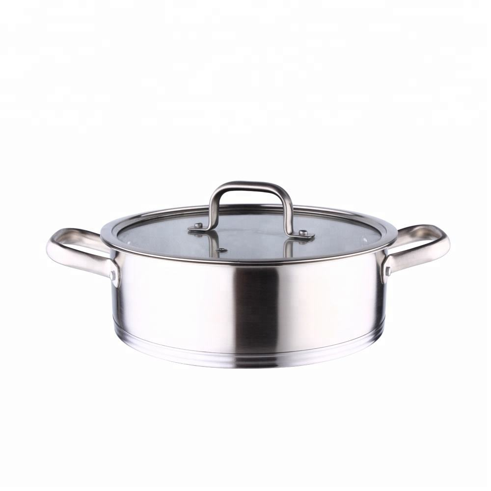 Twee handvat hot pot rvs parini pannenset fabriek produceren hot koop