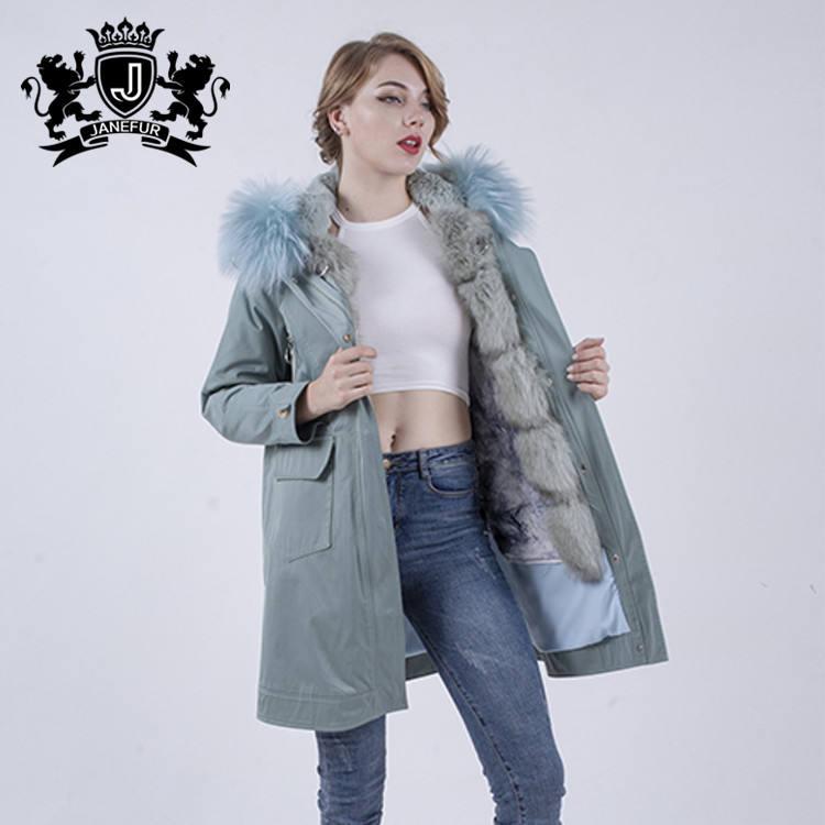 Mode Italienne Style Renard De Fourrure Bordée Long Rembourré Parka Veste Manteau Femmes