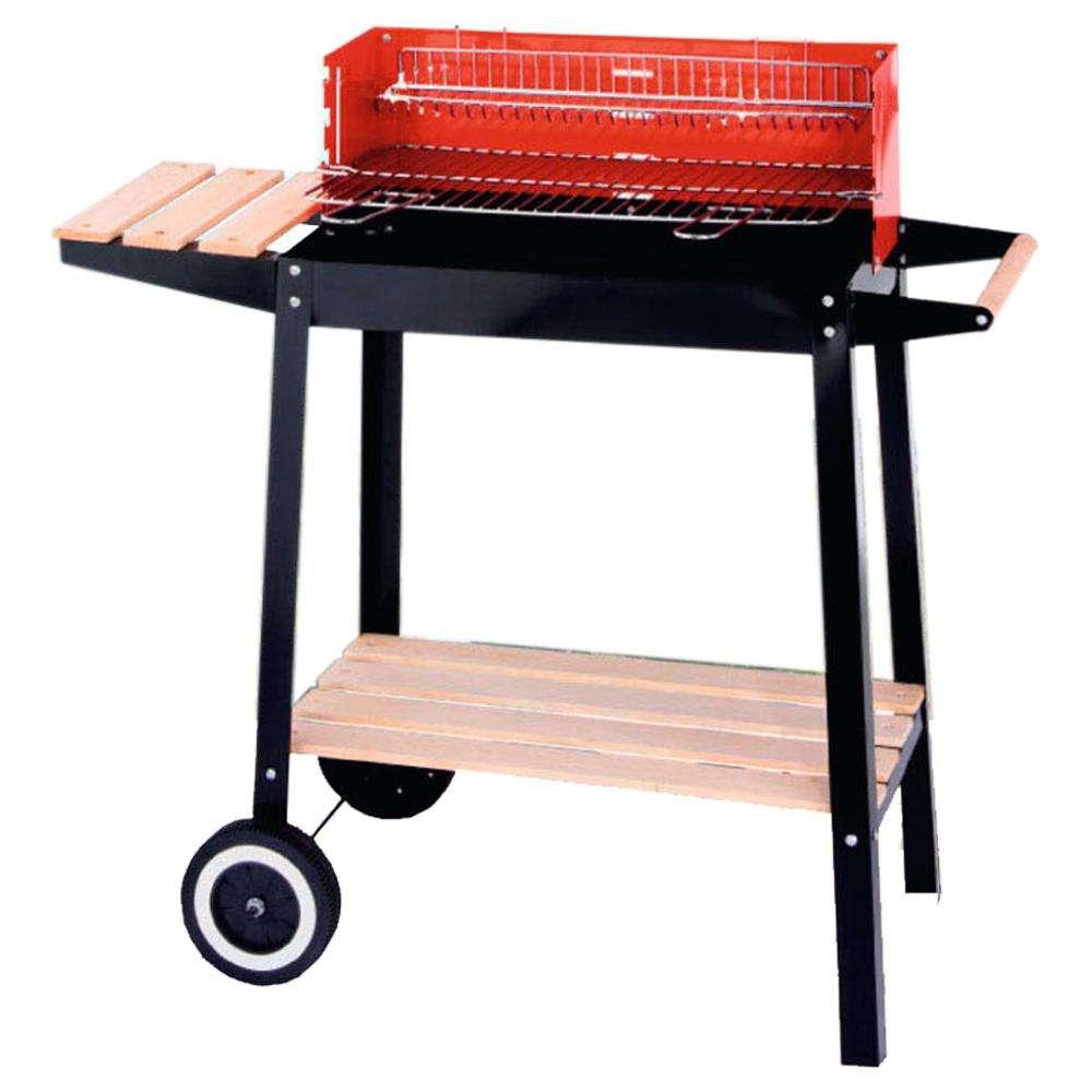 Высокое качество открытый тележка прямоугольный древесный уголь барбекю гриль с деревянной платформе квадратный гриль