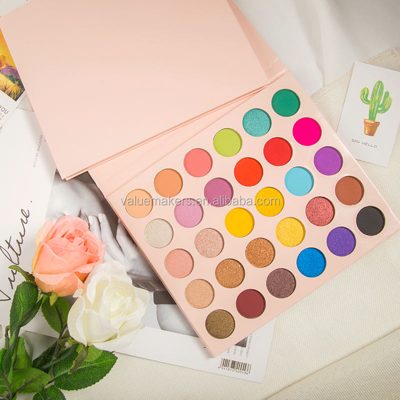 30 Colors Bright Pink Natural Eyeshadow Palette High Pigmented Cruelty Free Waterproof Eye Makeup Kits