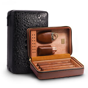 Luxurious Gift Set For Smoker Cedar Lining Humidor Leather Travel Cigar Case WIthout Cutter & Lighter