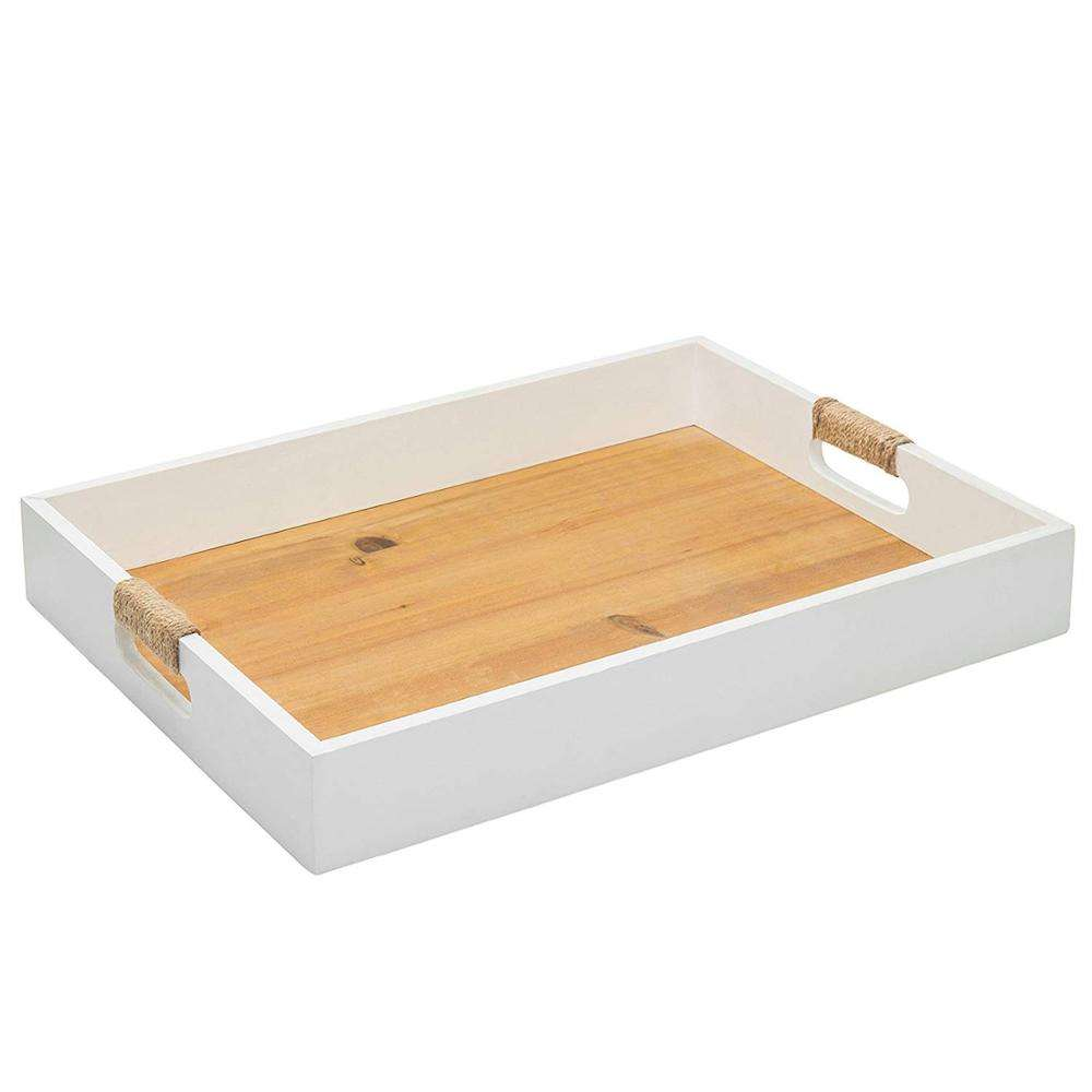 Modern White Natural Wood Serving Breakfast Tray with Cutout Handles